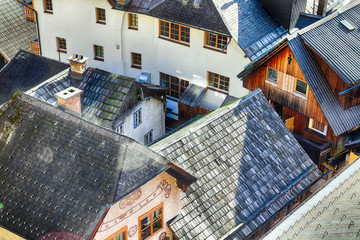 Views over roofs of the lake and Hallstatter and Hallstatt Lutheran Church, Austria