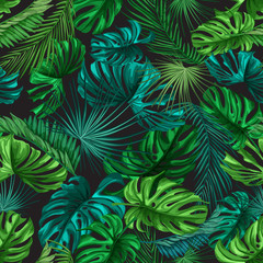 Vector tropical leaves summer seamless pattern