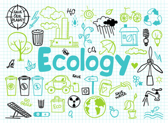 set of ecology, ecology problem and green energy icons