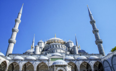 The biggest mosque in Istanbul of Sultan Ahmed (Ottoman Empire).