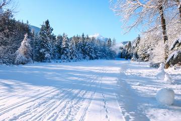 Bansko resort panorama with ski slope and snow mountains, Bulgaria