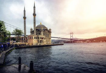 Istanbul. Image of Ortakoy Mosque with Bosphorus Bridge in Istanbul