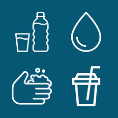 Set of 4 water outline icons