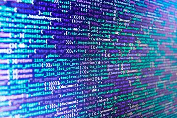 Future technology creation process. Programming code. Programing workflow abstract algorithm concept. Website design. HTML markup language closeup. Developer occupation work photo.