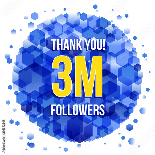 Thank you design template for social network and follower. 3M ...