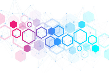 Hexagonal geometric background. Hexagons genetic and social network. Future geometric template. Business presentation for your design and text. Minimal graphic concept. Vector illustration. Fotoväggar
