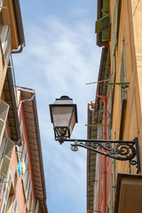 Street light old town Nice, France.