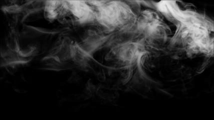 White smoke collection on black background.