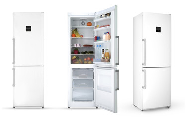 modern household refrigerator with food, three angles, isolated.