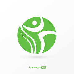 Human character vector logo template creative illustration. Abstract man figure sign.