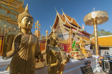 Line of Golden Buddhas at Wat Phrathat Doi Suthep Chiang Mai Thailand.