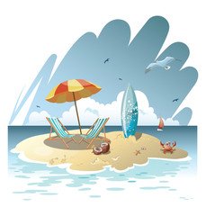 Cartoon island in the sea with a chaise longue and surfboard. Illustration for a travel company. Summer vacation at the sea. Illustration of a sandy beach with an umbrella. Vacation. Drawing for child