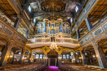 Fototapeta Interior of magnificently decorated wooden Protestant Church of Peace in Swidnica, UNESCO World Cultural Heritage, Poland.