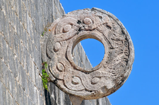 Stone ring at the great ball game court in the Chichen Itza, Mexico.