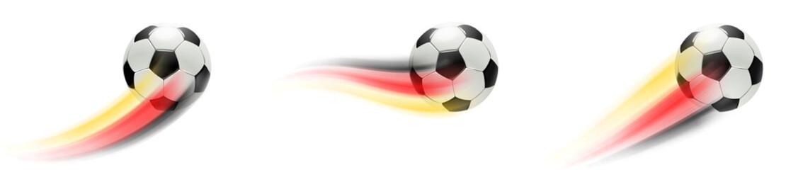 Fußball mit Deutschland Flagge Schweif - Set