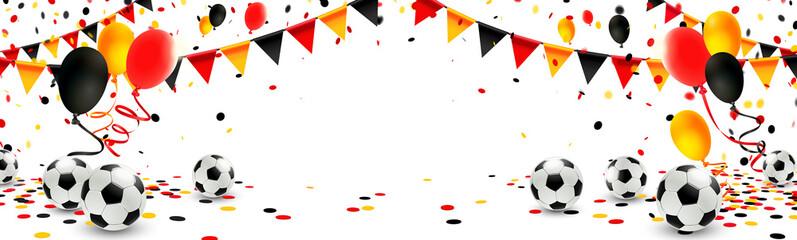 Deutschland Trikolore Girlande, Luftballons, Konfetti und Fußbälle