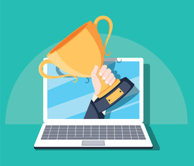 Online award goal achievement vector, flat cartoon computer and success winner holding golden cup prize, first place victory