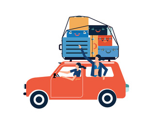 Two women traveling by car . Vector illustration of a flat design.Two women is going on vacation.