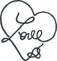 Heart shapes and word love made from rope