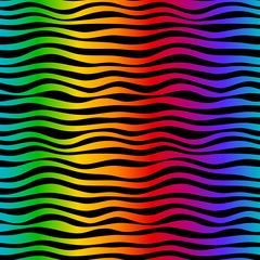 rainbow waves seamless pattern backgrownd. Bright colors and black. Hand-drawn abstract curves.