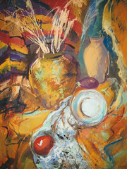 Still life painting drawing of stylized bottles and other objects