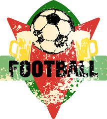 Soccer / Football fictional grungy emblem with soccer ball and beer,vector