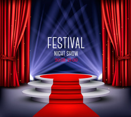 Festival night show poster. Showroom Background With A Red Carpet and Spotlight. Vector.