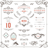 ornate design elements set table numbers wedding and restaurant