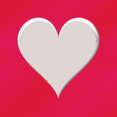 Simple white 3d flat heart shape symbol illustration on pink