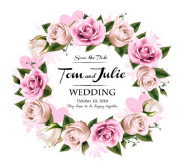 Wall Mural - Wedding invitation desing with coloful roses and hearts. Vector