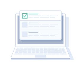 Checklist on laptop display, checkboxes with check mark. List of purchases, tasks, to do, CRM