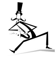 Cartoon long mustache saxophonist illustration isolated. Smiling mustache man in the top hat is playing music on saxophone with inspiration isolated black on white