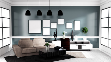 Modern Contemporary style, Living room interior design mock up. 3D rendering