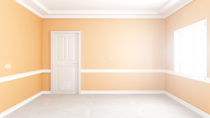 Modern empty living room interior, yellow wall mockup background. 3D rendering.