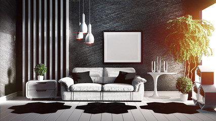 Room interior design Loft style. 3D rendering