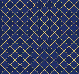 Seamless arabic pattern. Can be use for royal party backdrop.(boy baby shower, birthday, father's day, wedding) Navy blue and golden vector background. Little prince style. Decoration tile background