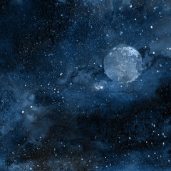 Abstract watercolor space background. Galaxy and planet