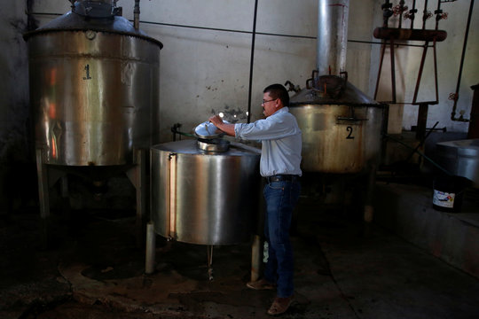 A man works at the Don Blanco distillery in Tequila