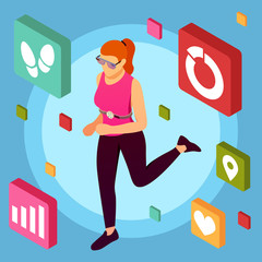 Fitness Apps Isometric Background