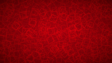 Abstract background of randomly arranged contours of squares in red colors.