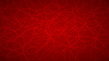 Abstract background of randomly arranged contours of elipses in red colors.