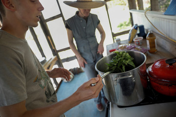 """Ethnobotanist and clinical herbalist Hayden Stebbins prepares a thistle soup with wild thistle and other plants gathered during a """"Forage and Feast"""" walk in Germantown, New York"""