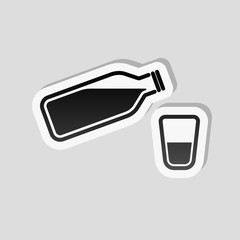 bottle of water and glass cup. simple icon. Sticker style with w