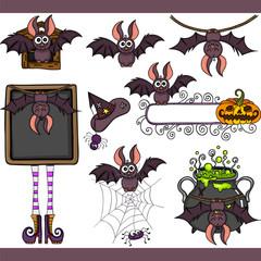 Funny bat set digital elements