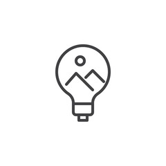 Landscape picture inside light bulb outline icon. linear style sign for mobile concept and web design. Creativity, Idea simple line vector icon. Symbol logo illustration. Pixel perfect vector graphics