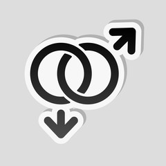 gender symbol. linear symbol. simple gay icon. Sticker style wit