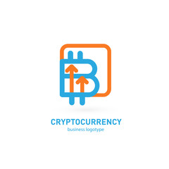 Illustration of business logotype cryptocurrency.