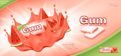 Bubble gum ads template. Commercial banner with juicy watermelon gum. Realistic vector illustration with 3d objects.