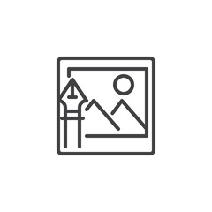 Image with ink pen outline icon. linear style sign for mobile concept and web design. Nib and landscape picture simple line vector icon. Symbol, logo illustration. Pixel perfect vector graphics
