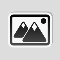 Picture with couple of mountains and sun. Simple icon. Sticker s